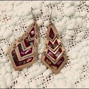 Vintage Silver/Red Abalone Dangling Earrings
